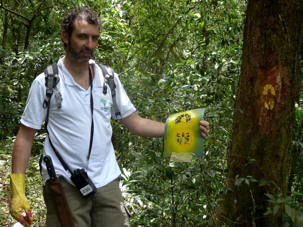 Pegada na Trilha Transcarioca, no Parque Nacional Tijuca (notar como o molde de plástico duro já está bem borrado e, portanto, precisando ser substituido)