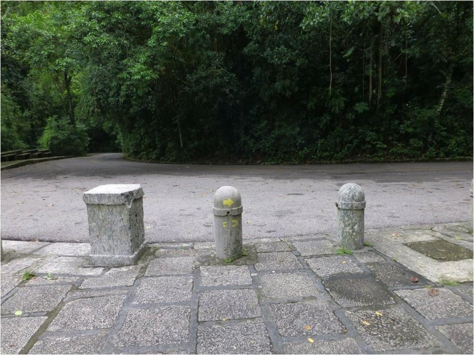 Uso de um corpo estranho para sinalização, no caso, um pitoco para impedir o estacionamento de carros (Trilha Transcarioca/Parque da Tijuca). Notar que a sinalização mostra duas trilhas correndo sobre o mesmo leito.