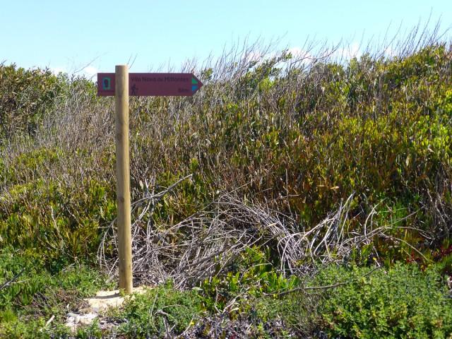 Exemplo de seta de madeira direcional com o próximo destino e distância em km no meio da trilha de longo curso Rota Vicentina (Parque Natural da Costa Vicentina e Sudoeste Alentejano, Portugal)