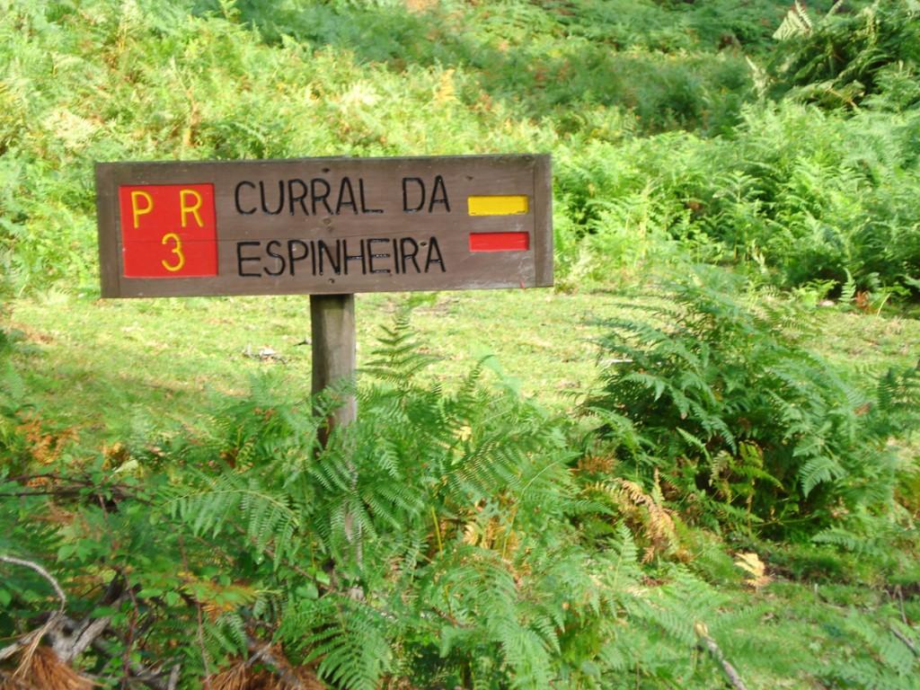 Placa de localização da trilha numerada PR 3. Mesmo quando não for possível colocar a altitude, a Placa de localização continua a ser importante! (Parque Natural da Ilha Terceira, Portugal)