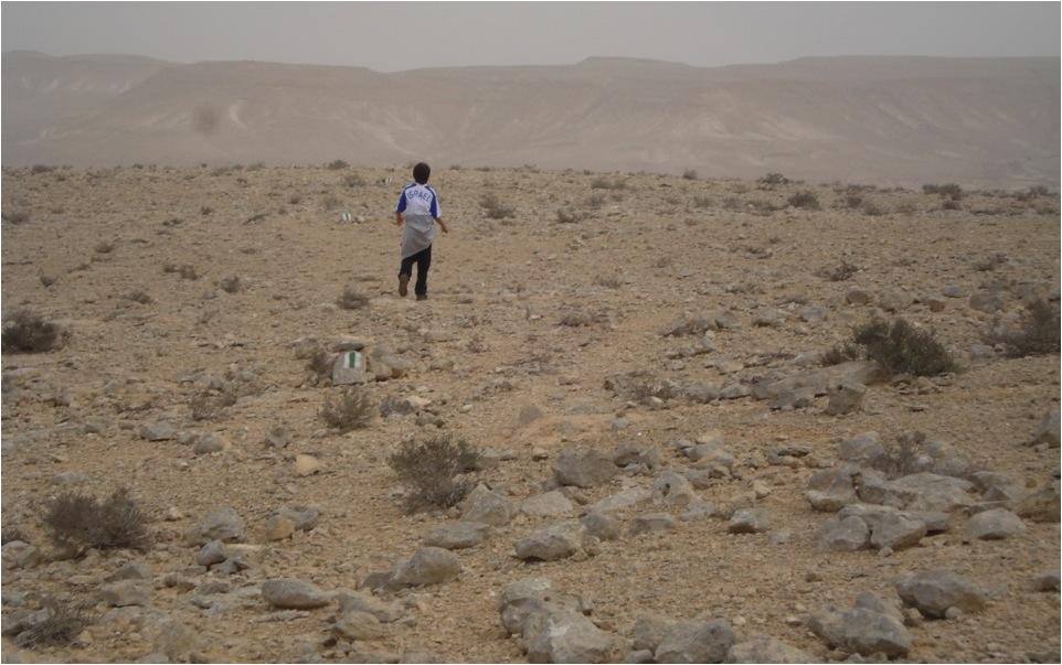 Sinalização intensiva em trecho desértico da Trilha Nacional Israel no Parque Nacional Ein Avdat, em Israel. Notar que de uma sinalização é possível ver a seguinte.