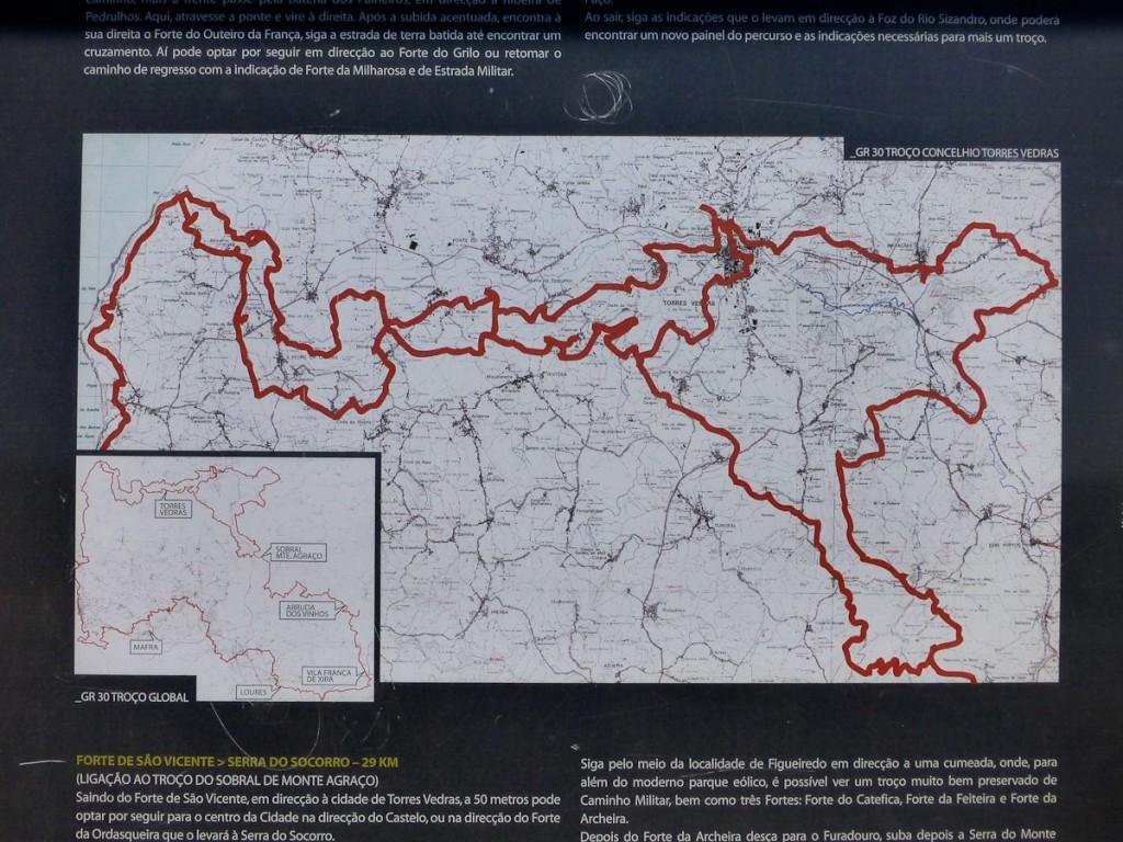Mapa detalhado da respectiva trilha (Trilha de longo curso GR 30, Portugal).