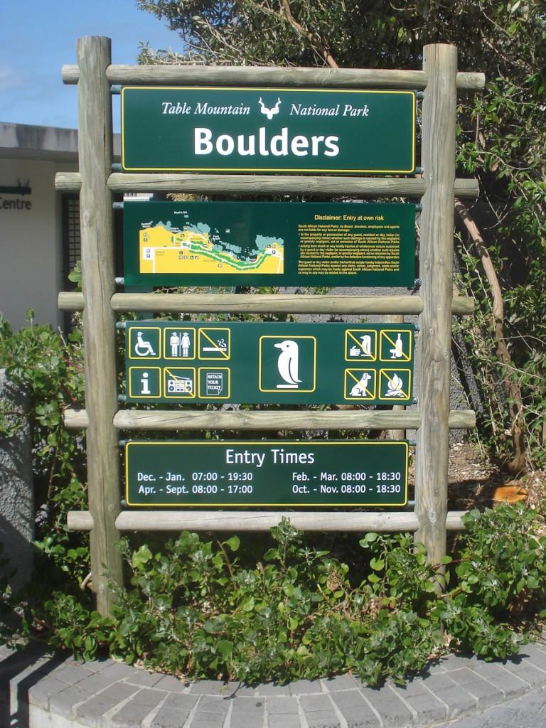 Placa em que os ícones dão o recado (Parque Nacional da Montanha da Mesa, África do Sul)