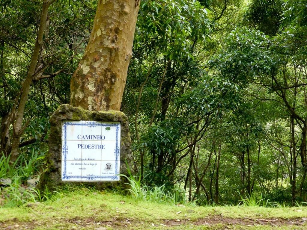 Sinalização criativa: em Portugal tudo acaba em Azulejos (Parque Natural das Flores).