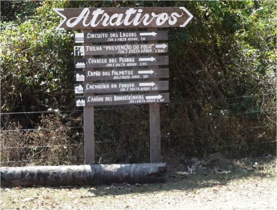 Tabuletas pintadas com sinalização direcional, ícones referentes aos atrativos e tempo de duração das caminhadas (Parque Nacional da Serra do Cipó).