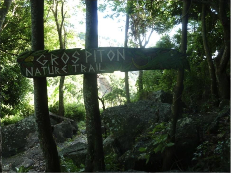 Tabuleta entalhada com sinalização direcional (Área de Manejo dos Pitons, Santa Lúcia - Caribe).