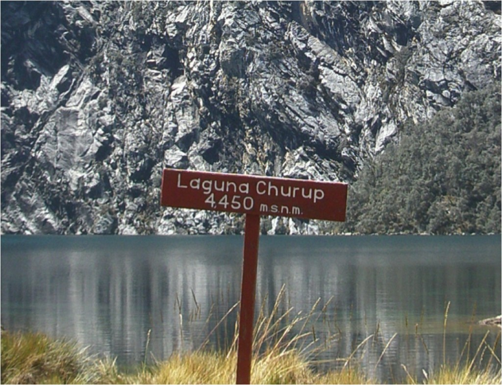 Tabuleta de destino (Parque Nacional Huascarán, Peru). Notar que as informações foram entalhadas na tabuleta. (Foto de Sônia Kinker).
