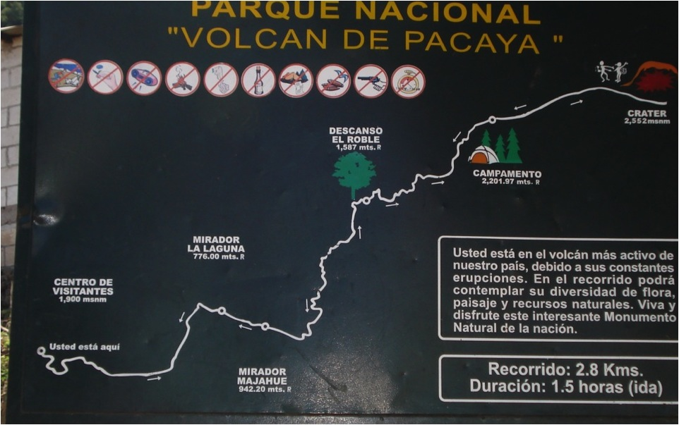 Placa-Base com perfil altimétrico, distância, duração da caminhada, declaração de conhecimento de risco e ícones de regras e procedimentos (Parque Nacional Vulcão de Pacaya, Guatemala).