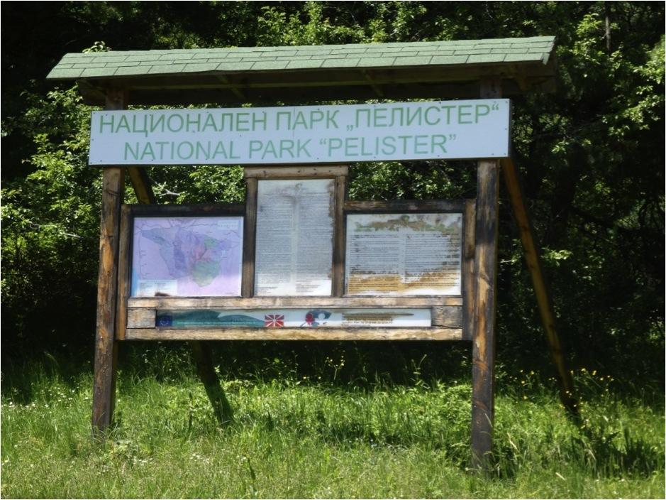 Placa base bilíngue no Parque Nacional Pelister, Macedônia. A Placa trás mapas, regras e informações de fauna e flora. Notar também o reforço da trave em diagonal, a cobertura de acrílico e o telhadinho de madeira.