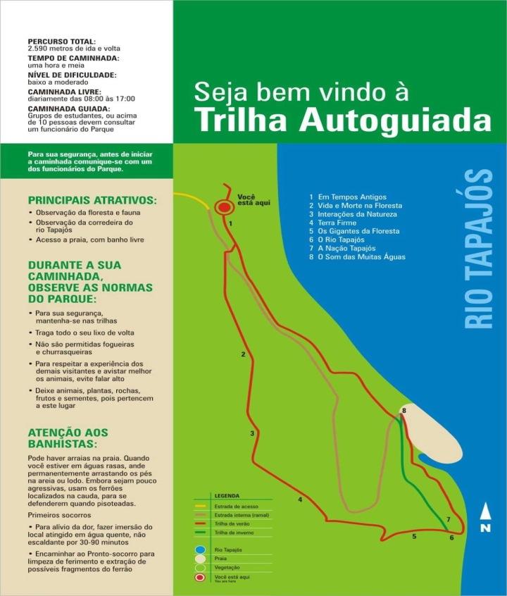 Sinalização de perigo permanente (arraias) (Floresta Nacional de Tapajós).