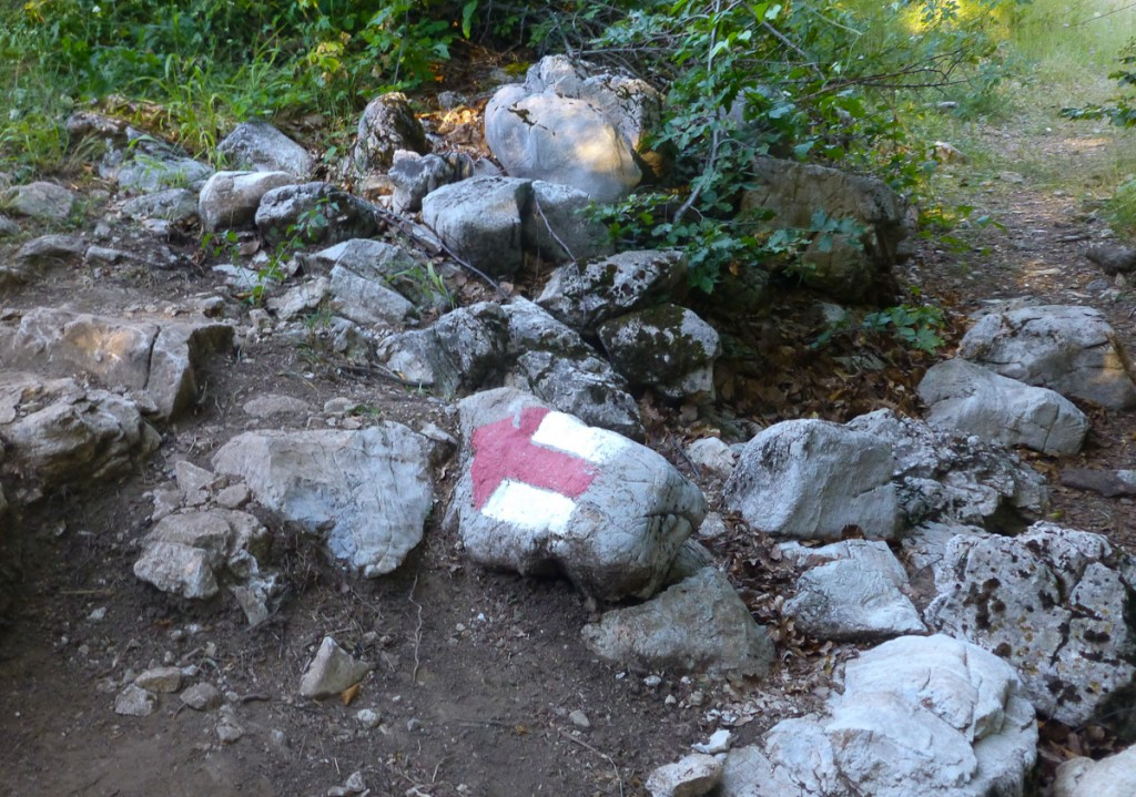 Seta pintada em pedra facilmente removível. Pode ser que não esteja apontando para o caminho certo (Trilha de longo curso Peaks of Balkans no Parque Nacional Theti, Albânia)