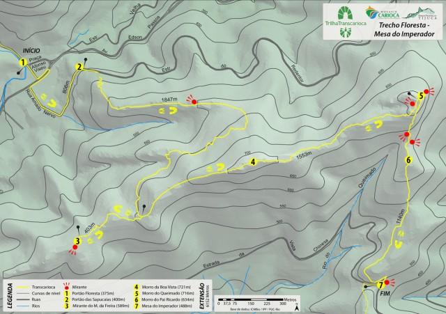 Mapa da Trilha Transcarioca. Todos os pontos destacados no mapa devem ser sinalizados com tabuletas (mapa de Thiago Haussig).