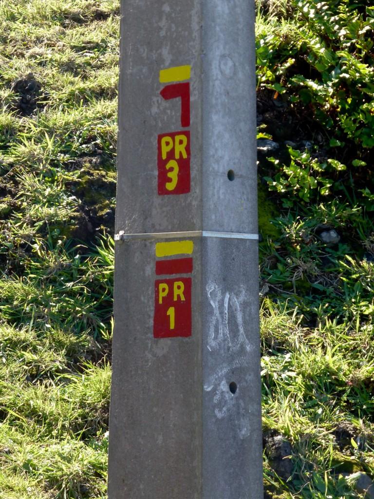 Uso de um corpo estranho para sinalização, no caso, um poste de eletricidade (Parque Natural das Flores, Açores/Portugal). Notar que a sinalização mostra duas trilhas correndo sobre o mesmo leito.