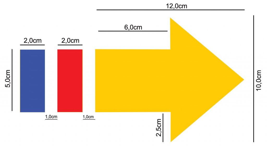 Medidas padrão de seta sinalizadora de várias trilhas sobre o mesmo leito.
